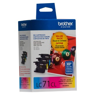 Brother 71 C/M/Y 3pk Ink Cartridges - Cyan,Magenta,Yellow (LC-713PKC)