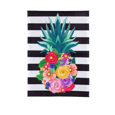 Evergreen Color Floral Pineapple Striped Garden Burlap Flag