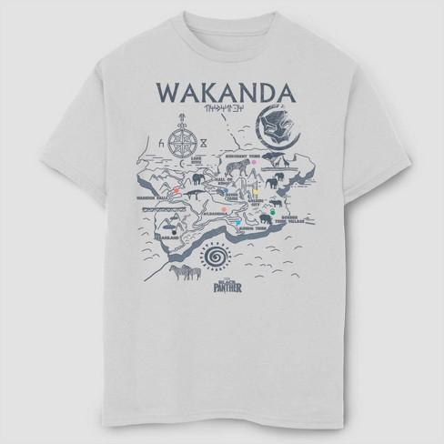 Boys' Marvel Black Panther Wakanda Map Short Sleeve T-Shirt - White - image 1 of 1