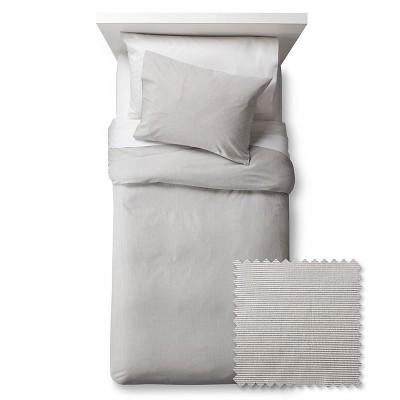 Seersucker Duvet Cover Set - Full/Queen - Gray - 3pc - Pillowfort™