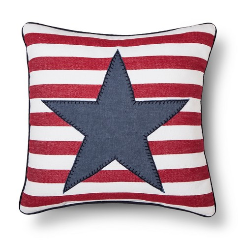 Blue/Red Americana Star/Stripe Throw Pillow - Threshold™ - image 1 of 1