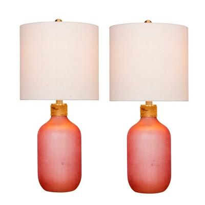 2pk Island Jug Glass Table Lamps Pink - Fangio Lighting
