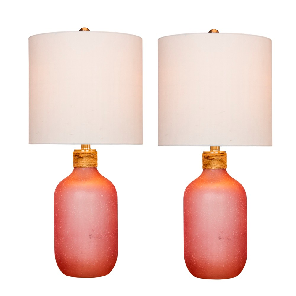 Image of 2pk Island Jug Glass Table Lamps Pink - Fangio Lighting