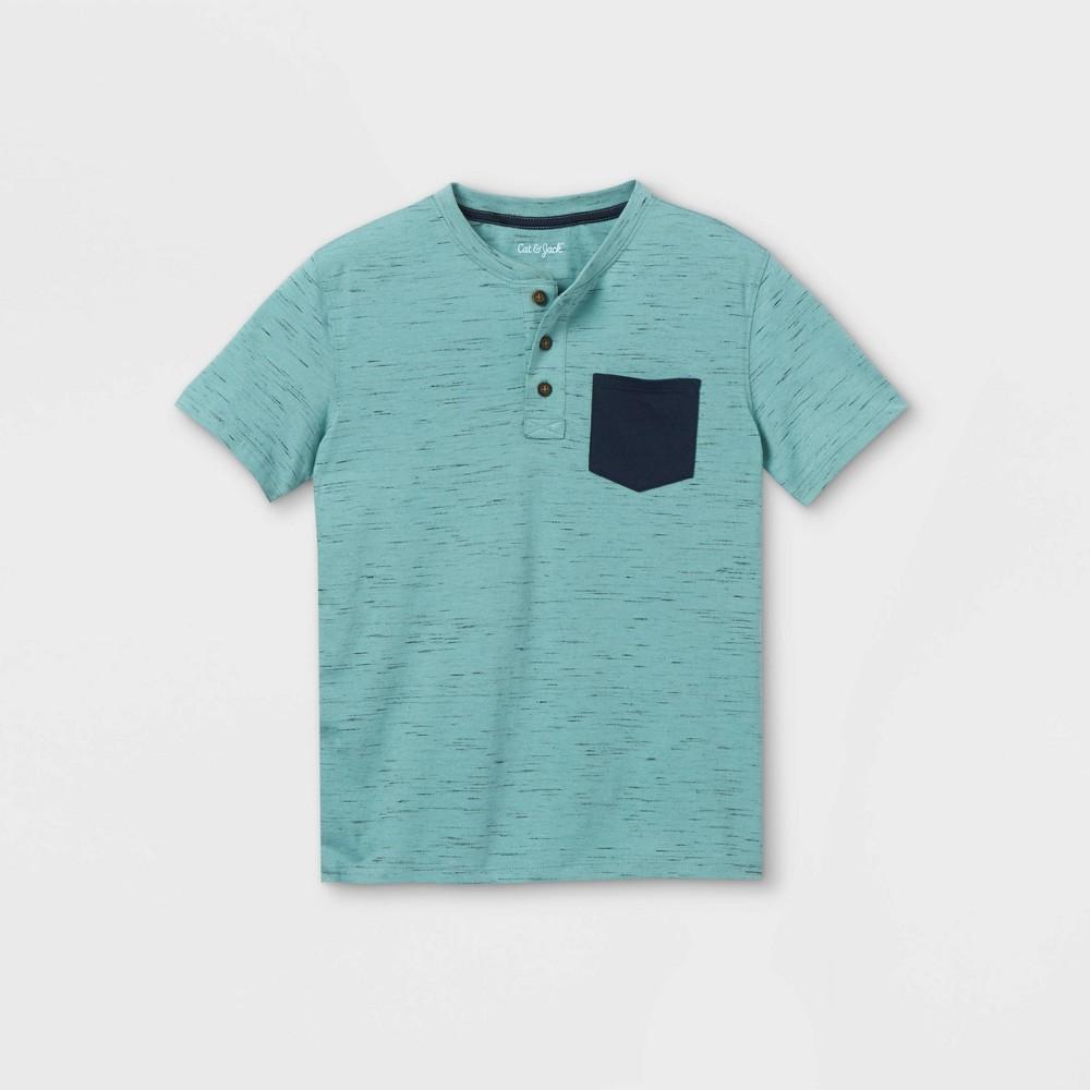 Boys 39 Short Sleeve Henley Shirt Cat 38 Jack 8482 Teal Navy L