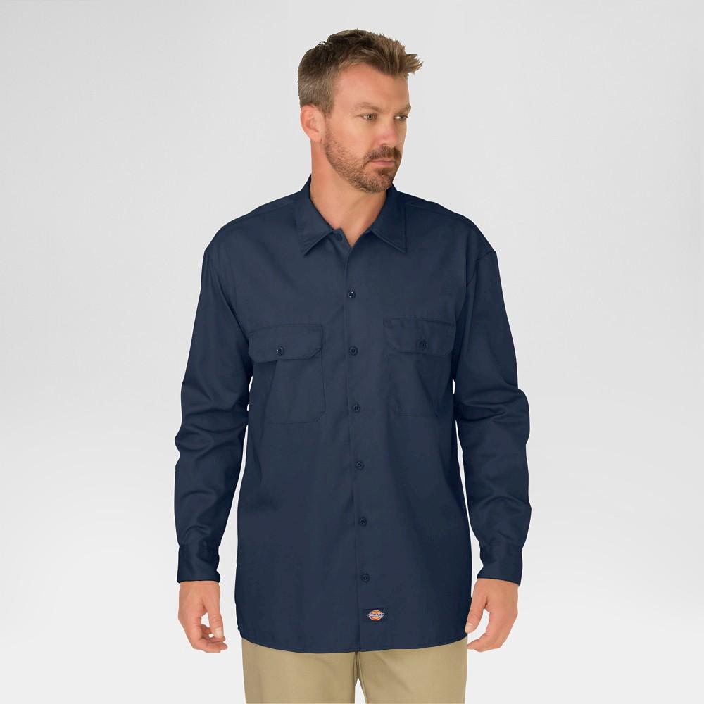 Dickies Men's Original Fit Twill Long Sleeve Shirt-Dark Navy L, Dark Navy