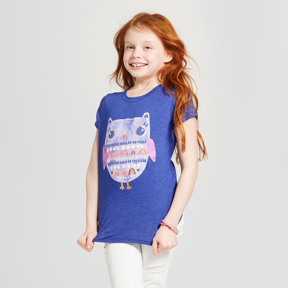 Girls' Short Sleeve Owl Graphic T-Shirt - Cat & Jack Blue XS