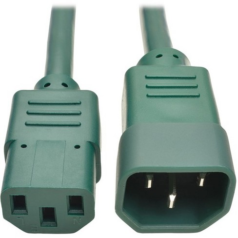 Tripp Lite 6ft Heavy Duty Power Extension Cord 15A 14 AWG C14 C13 Green 6' - For Computer, Scanner, Printer, Monitor, Power Supply, Workstation - image 1 of 4