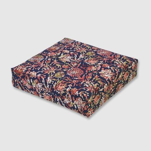 Watercolor Dahlia Outdoor Deep Seat Cushion Navy - Threshold™ - image 1 of 3