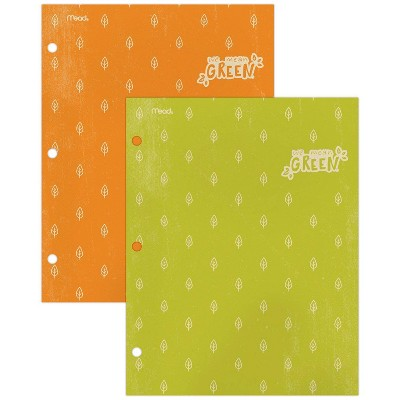 2pk Recycled Portfolios 2 Pocket College Ruled Green and Orange - Mead
