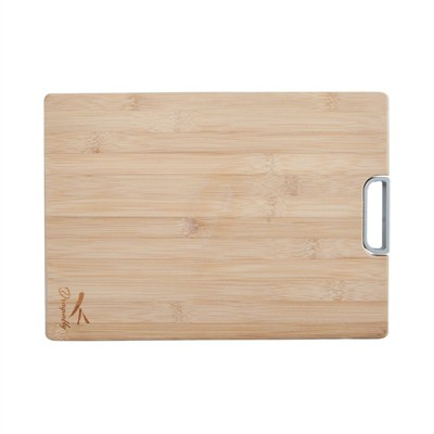 Bamboo Large Chopping Board with Metal Handle in Natural Brown-Pemberly Row