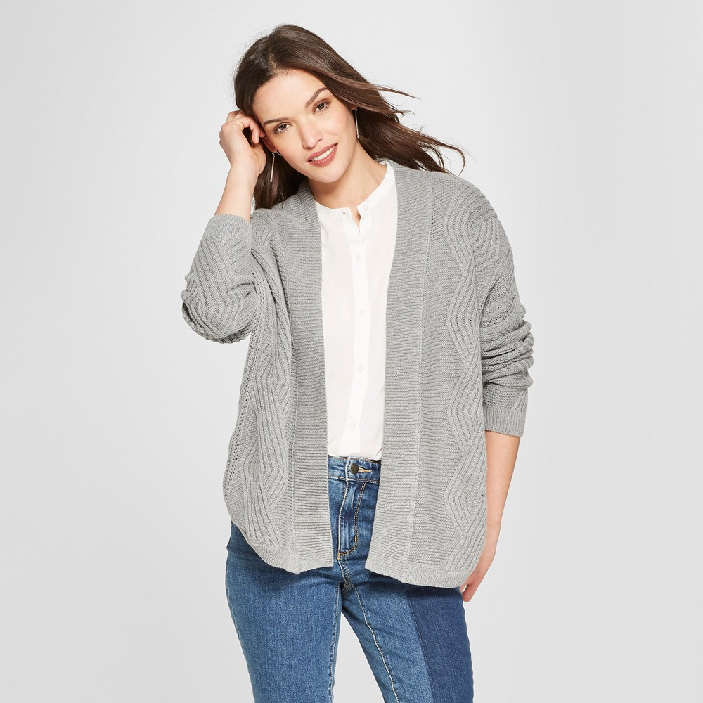 Women's Cable Open Cardigan - Universal Thread Gray XL