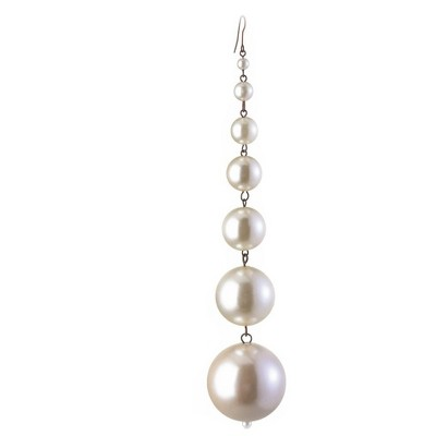 """Napa Home and Garden 7"""" Dangling Drop Christmas Ornament - Pearl White"""