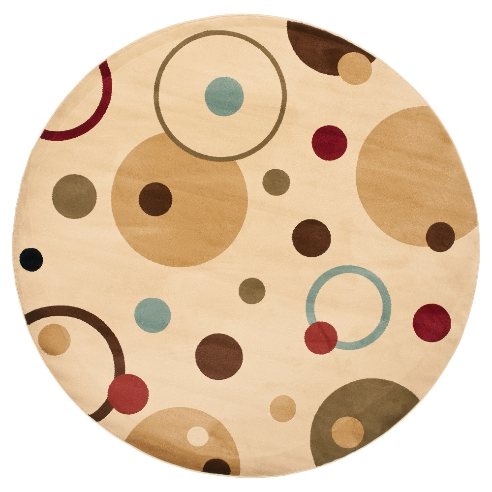 Ivory/Multi Abstract Tufted Round Area Rug - (7' Round) - Safavieh, White Multicolored