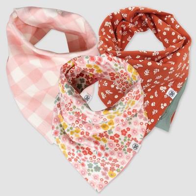 Honest Baby Girls' 3pk Organic Cotton Meadow Floral Bandana Bib - Pink