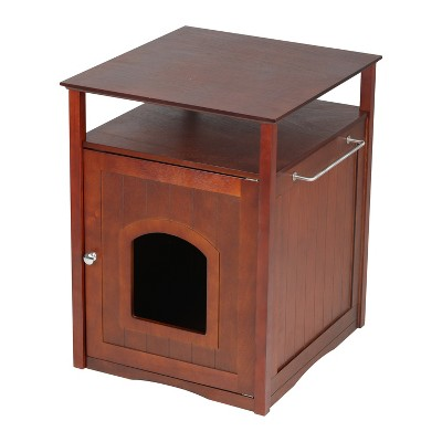 Cat Washroom Litter Box Cover- Walnut