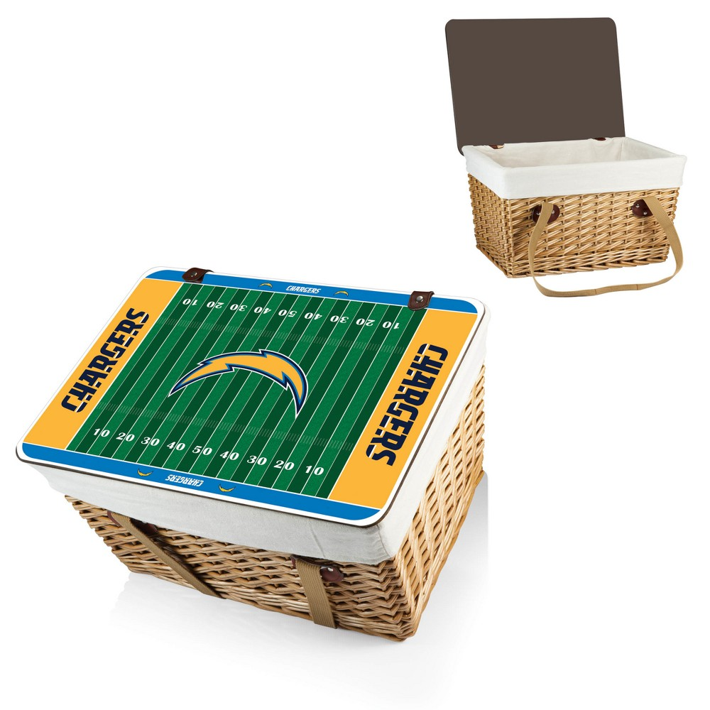 NFL Los Angeles Chargers Picnic Time Canasta Grande Picnic Basket - Brown