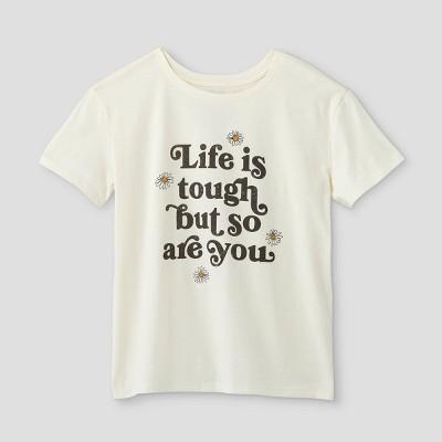 Women's Life is Tough Short Sleeve Graphic T-Shirt (Juniors') - Ivory