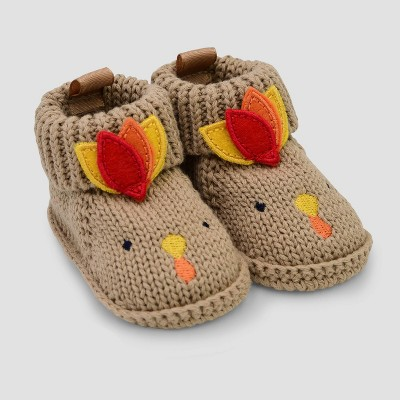 Baby Knit Turkey Bootie Slippers - Just One You® made by carter's Tan Newborn