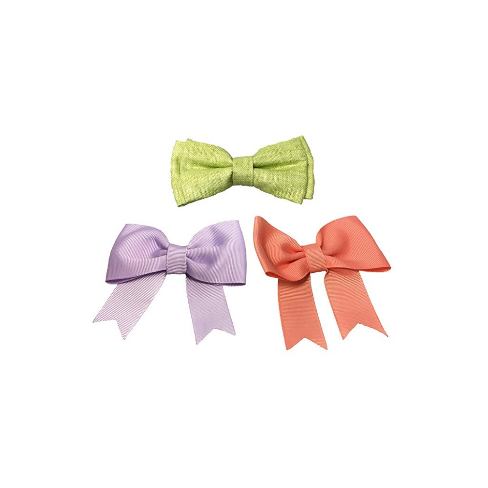 Bow & Arrow Slide Bow Ties Dog Collar - Coral (Pink) and Green