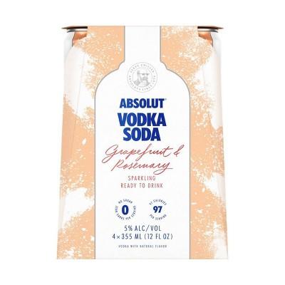 Absolut Grapefruit & Rosemary Sparkling Vodka Soda - 4pk/355ml Cans