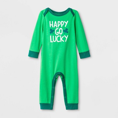 """Baby Long Sleeve St. Patty's """"Happy Go Lucky Romper"""" - Cat & Jack™ Green 6-9M"""