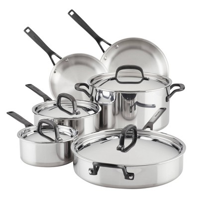 KitchenAid 5-Ply Clad Stainless Steel 10pc Cookware Set