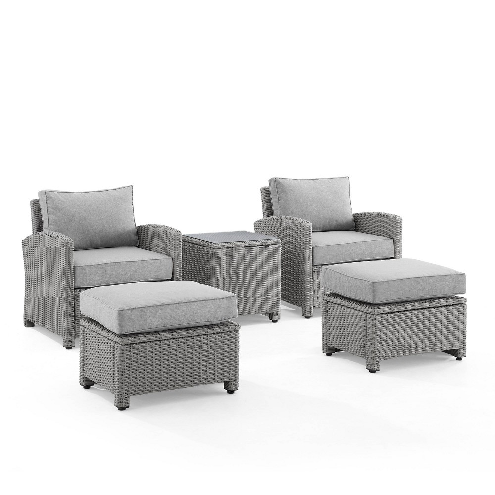 Bradenton 5pc Outdoor Wicker Seating Set With Side Table 2 Arm Chairs And 2 Ottomans Gray Gray Crosley