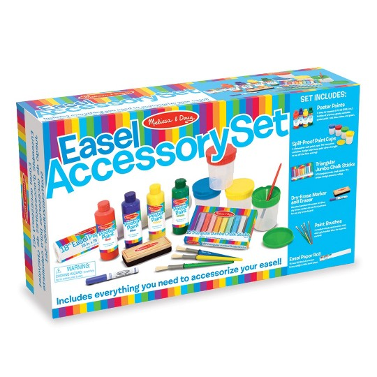 Melissa & Doug Easel Accessory Set - Paint, Cups, Brushes, Chalk, Paper, Dry-Erase Marker, Adult Unisex image number null