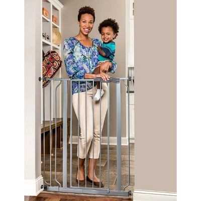 Regalo Extra Tall Easy Step Metal Walk Through Baby Gate - Platinum