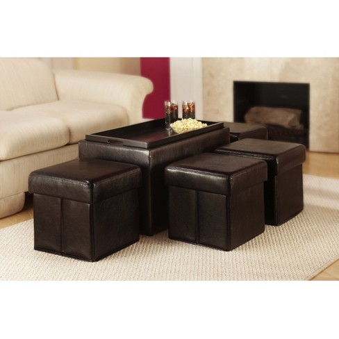 Manhattan Storage Bench with 4 Ottomans and Wood Serving Tray Espresso - Convenience Concepts - image 1 of 6