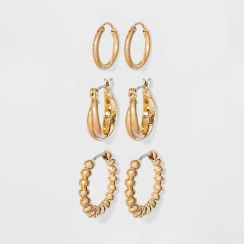 Bead and Twister Hoop Earrings - Universal Thread™ Gold - image 1 of 2