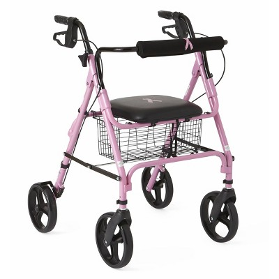 Medline Folding Walker Rollator with 8 inch Wheels - Breast Cancer Awareness