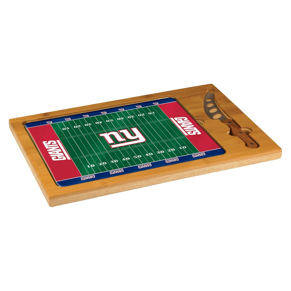 New York Giants - Icon Cutting Board/Tray and Knife Set by Picnic Time (Football Design)