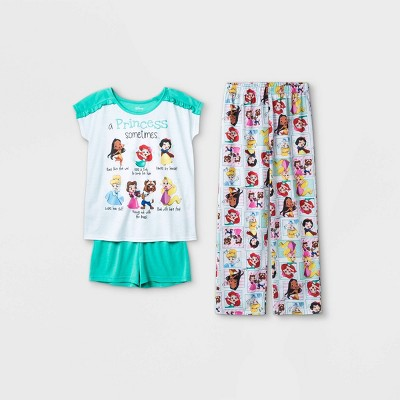 Girls' Disney Princess 3pc Pajama Set - Blue/White