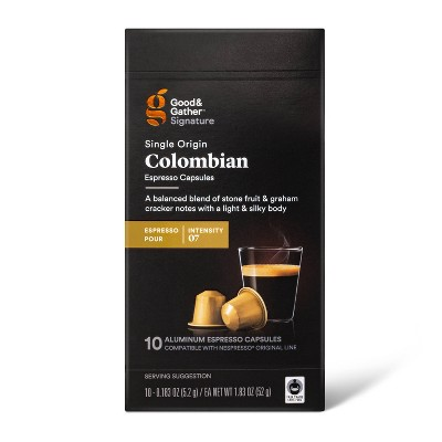 Signature Columbian Espresso Pods Espresso Roast Coffee - 0.183oz/10ct - Good & Gather™