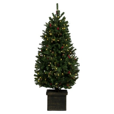 """Vickerman 5' x 32"""" Potted Mixed Berry Pine Artificial Christmas Tree, Warm White Dura-lit LED Lights"""