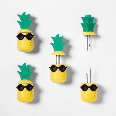 8pk Pineapple Corn Holders Yellow - Sun Squad™
