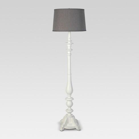 Washed Wood Double Socket Floor Lamp Threshold Target