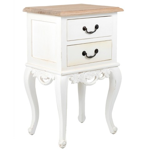 Grayville Square Teakwood Accent Table - White - East At Main - image 1 of 8