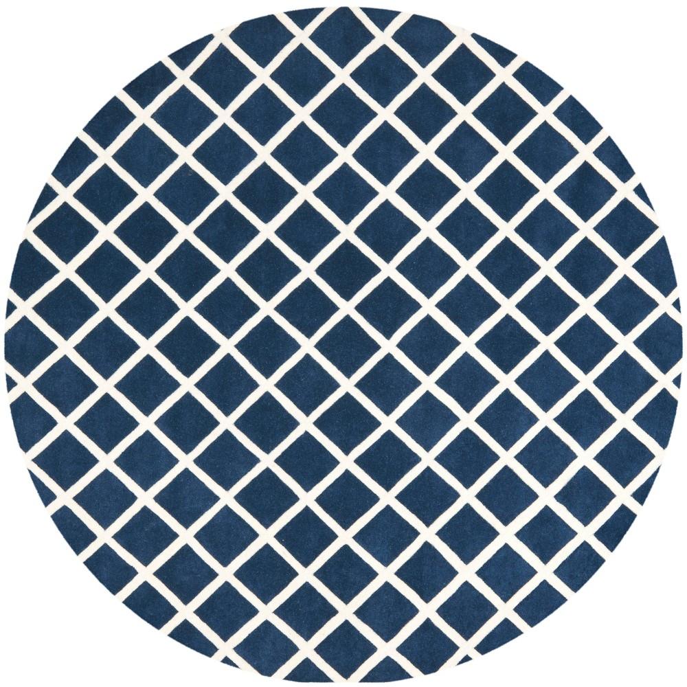 7' Geometric Tufted Round Area Rug Dark Blue/Ivory - Safavieh