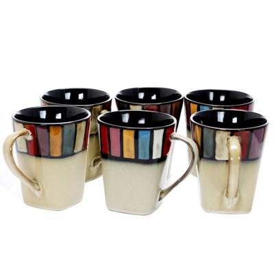 14oz 6pk Stoneware Color Tile Coffee Mugs - Elama