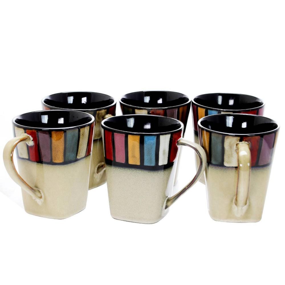 Image of 14oz 6pk Stoneware Color Tile Coffee Mugs - Elama