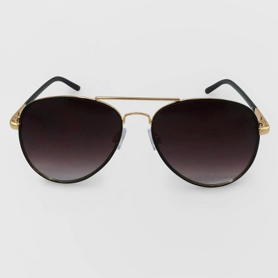 Women's Aviator Metal Silhouette Sunglasses - Wild Fable™ Black