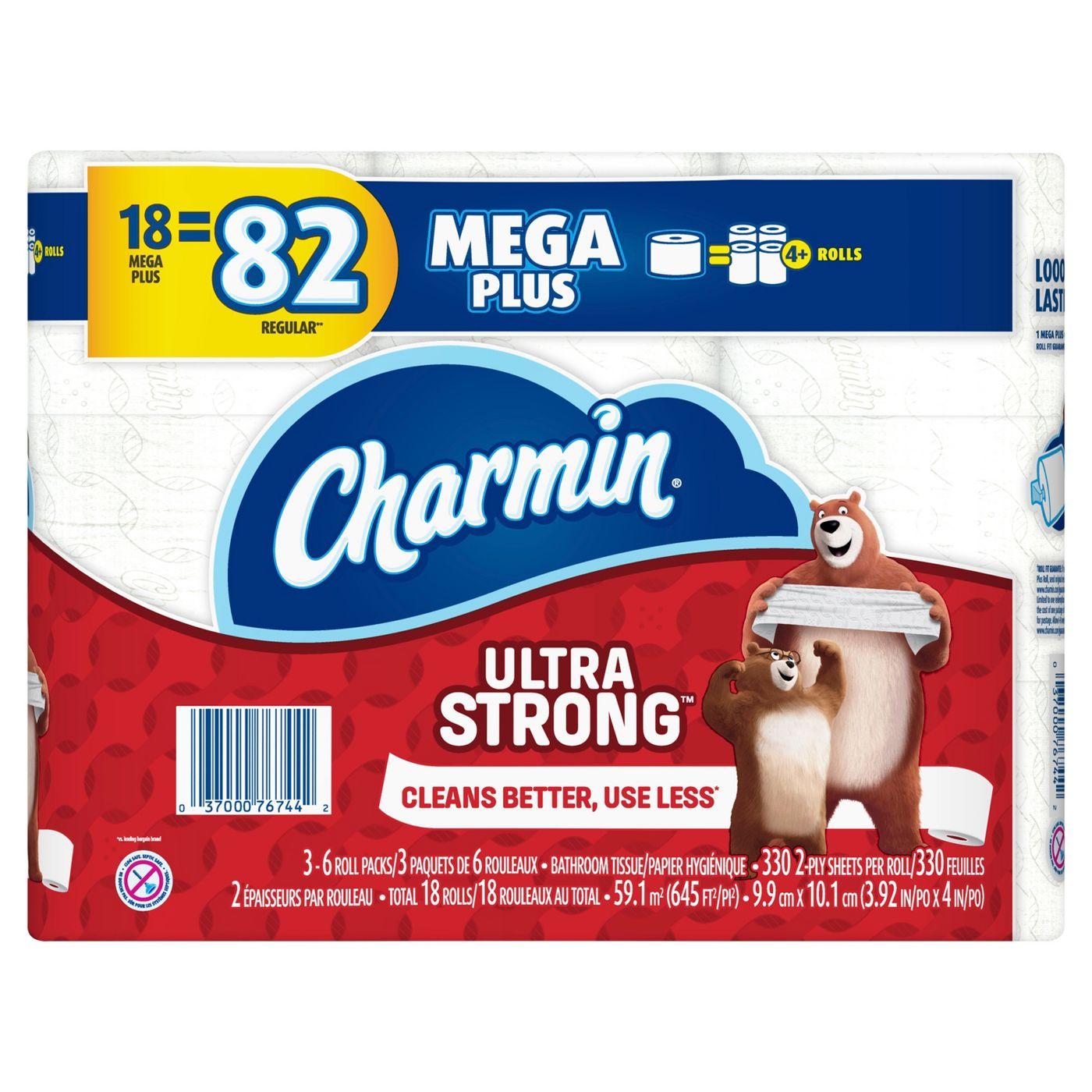 18 Mega Plus Rolls of Charmin Ultra Strong Toilet Paper (equals 82 regular rolls)