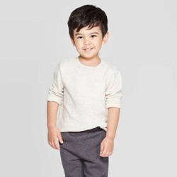 Toddler Boys' Ottoman Crew Long Sleeve T-Shirt - Cat & Jack™ Oatmeal