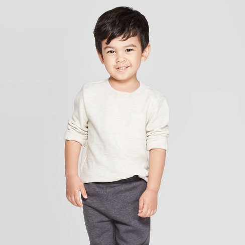 Toddler Boys' Ottoman Crew Long Sleeve T-Shirt - Cat & Jack™ Oatmeal - image 1 of 3