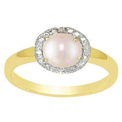 Freshwater Pearl and Diamond Accent Ring Gold Plated (IJ-I2-I3) (June)
