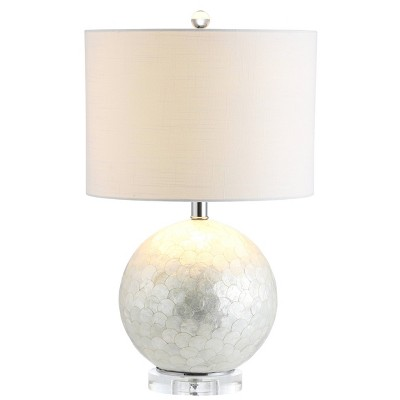 "23.5"" Zuri Capiz Seashell Sphere Table Lamp (Includes LED Light Bulb) White - JONATHAN Y"