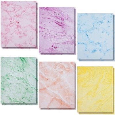 Paper Junkie 96-Sheet Marble Pattern Stationery Paper in 6 Colors for Invitations, Printer Friendly, Letter Size, 8.5x11 inches