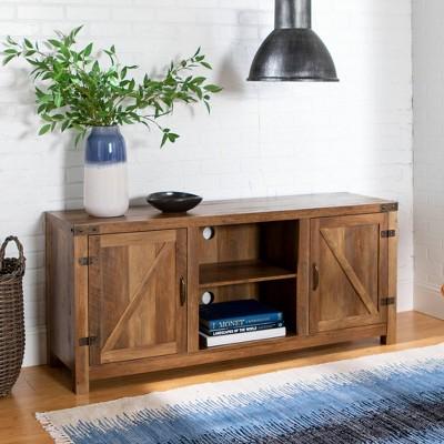 58  Barn Door TV Stand with Side Doors Rustic Oak - Saracina Home